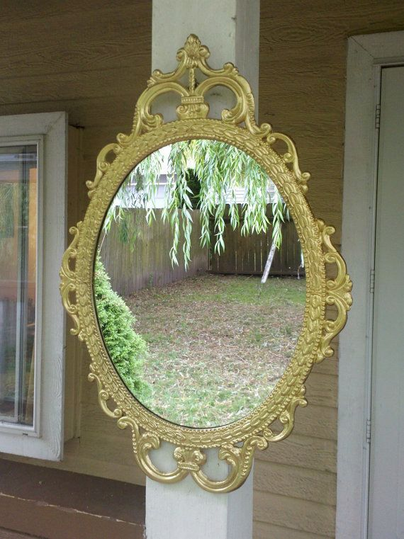 Ornate Oval Mirror In Vintage Metal Frame 17 X 12 Inch Etsy Oval Mirror Brass Picture Frames Mirror