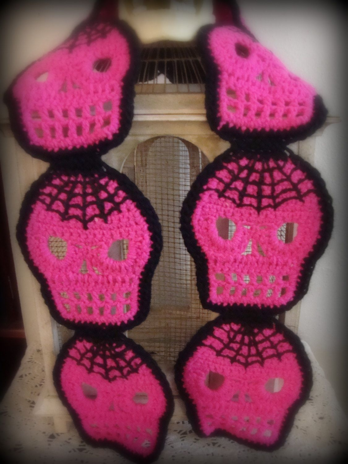Hot Pink Crochet Skull Scarf with Embroidered Spider Webs   Crochet ...