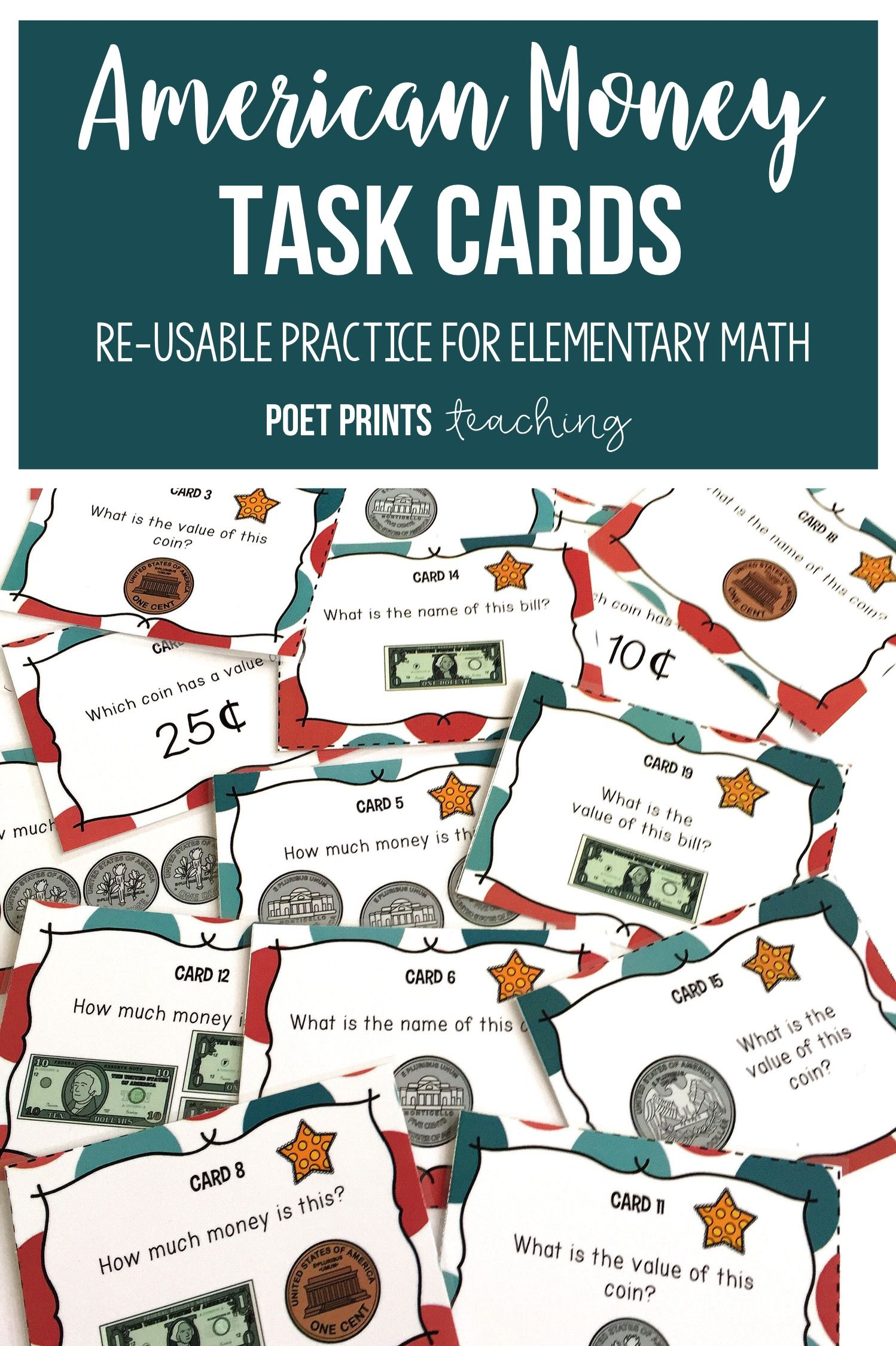 Math Center Task Cards, American Money | Early finishers, Math and ...