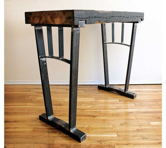 Reclaimed wood bar height table steel legs by for Table 850 wood