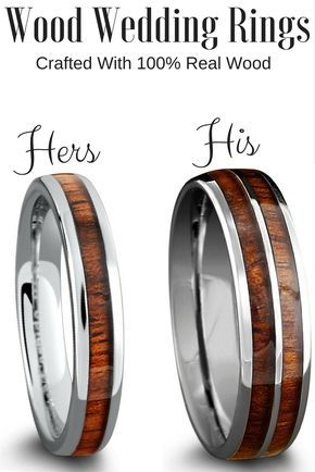 Crafted Out Of The Tungsten Carbide And Inlaid With 100 Real Koa Wood These Make Perfect His Her Matching Wedding Band Set