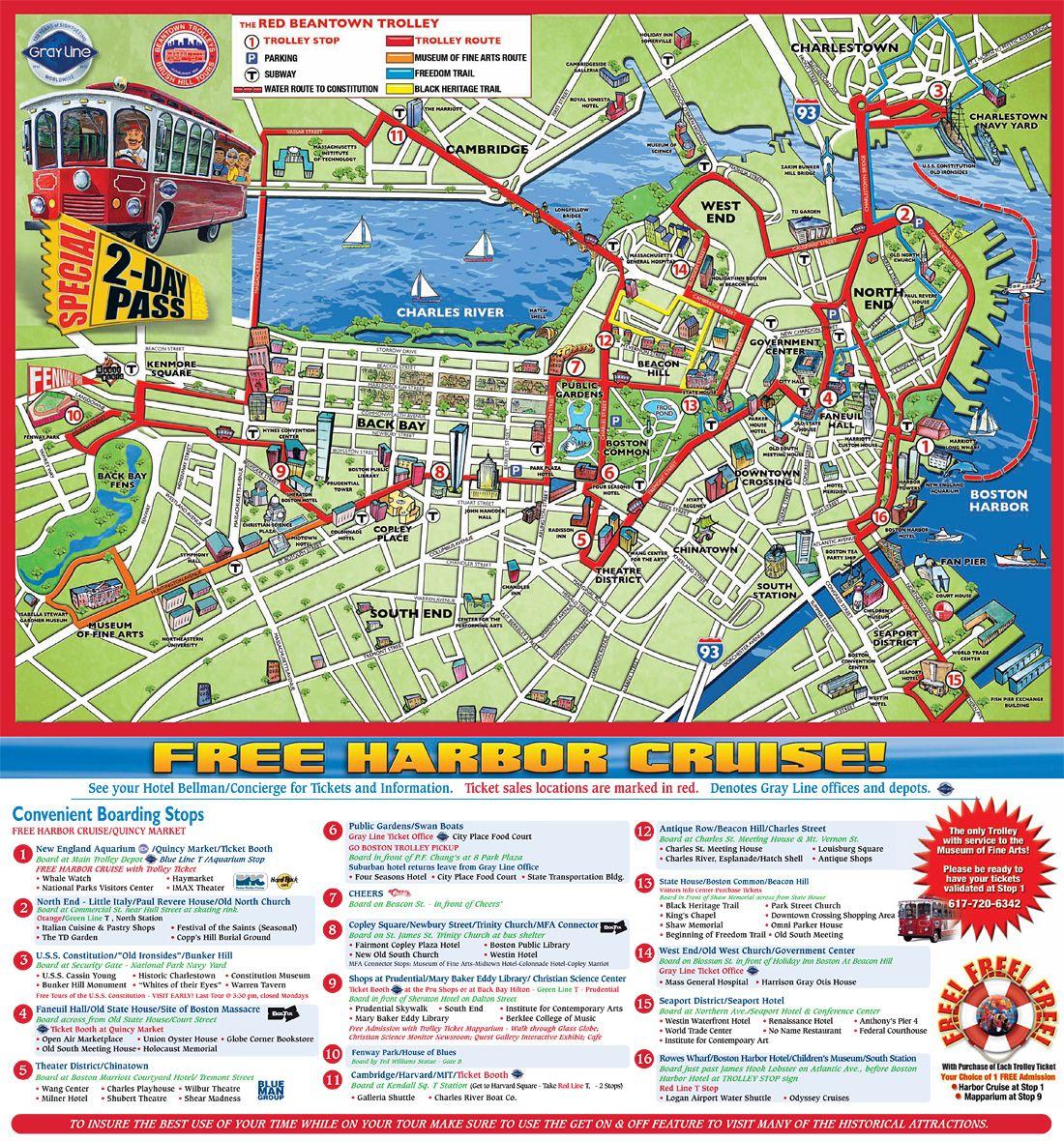 Boston Trolley Map Beantown Trolley Tours Boston Boston Trip