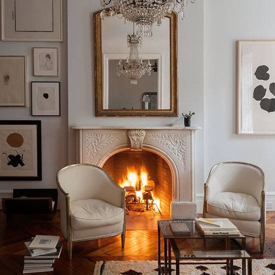 Pin By One Kings Lane On White And Neutral Interiors Home New York Brownstone Vintage Fireplace