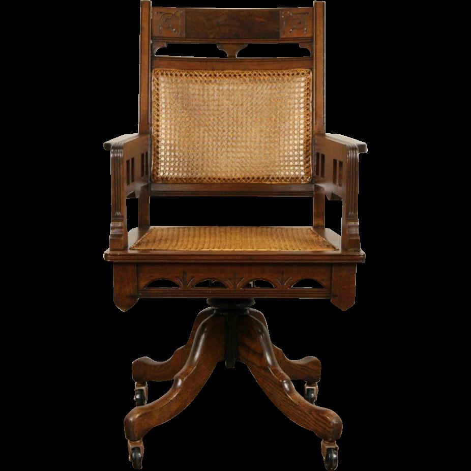 Rattan Office Chair. Victorian Eastlake Antique 1885 Walnut Adjustable  Swivel Desk Chair Www.rubylane