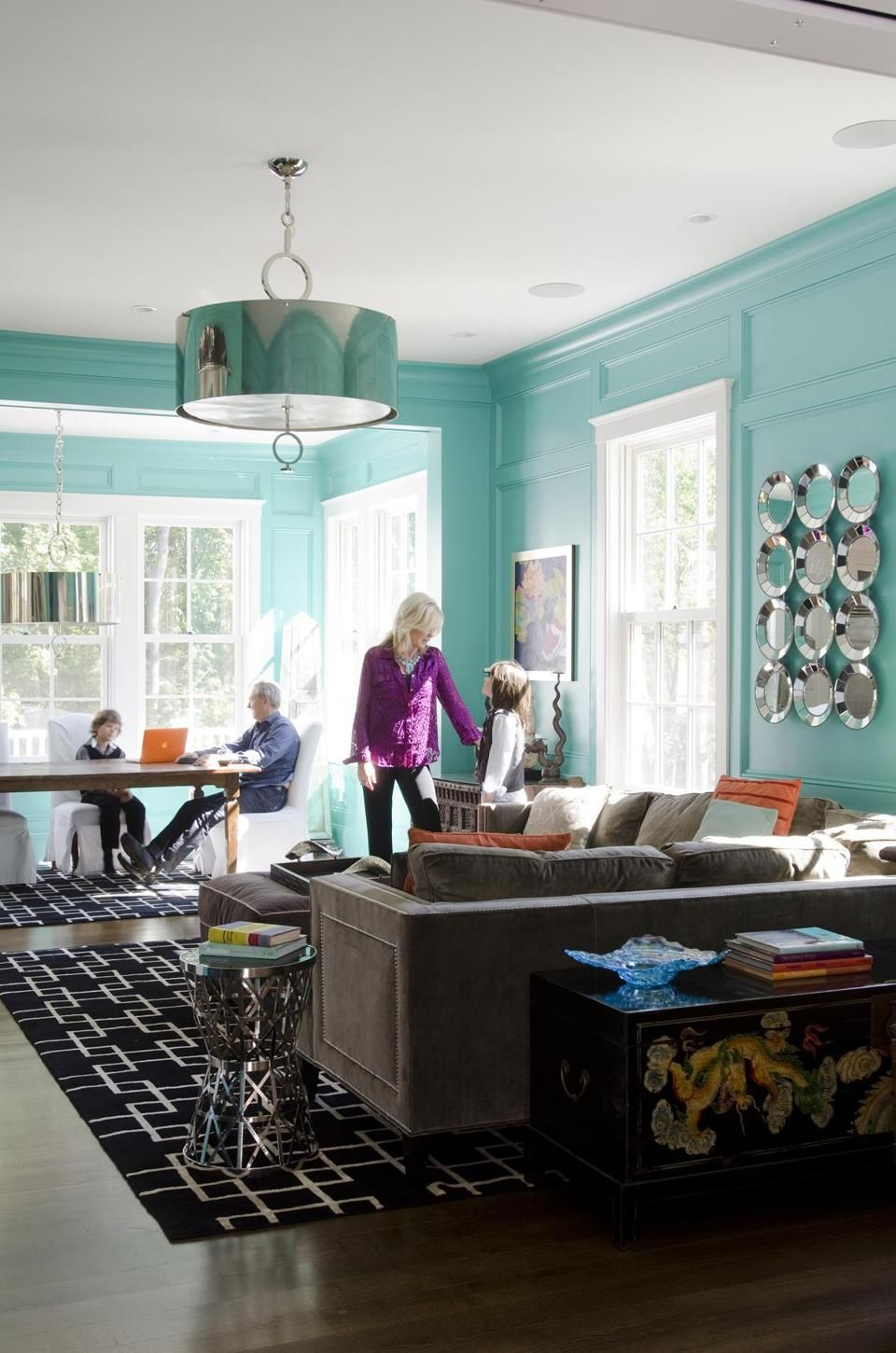 Classic Meets Eclectic In Manchester By The Sea Victorian The Boston Globe Blue Living Room Living Room Designs Living Room #tiffany #blue #living #room