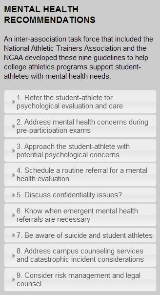 New Ncaa Mental Health Recommendations Made For StudentAthletes