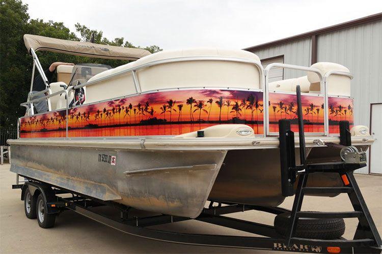 Paradise Pontoon Wrap Ideas Boat Wraps Pontoon Boat Pontoon