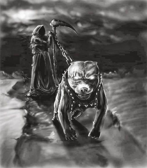 Grim Reaper And American King Pitbull Art Tattoo Black And
