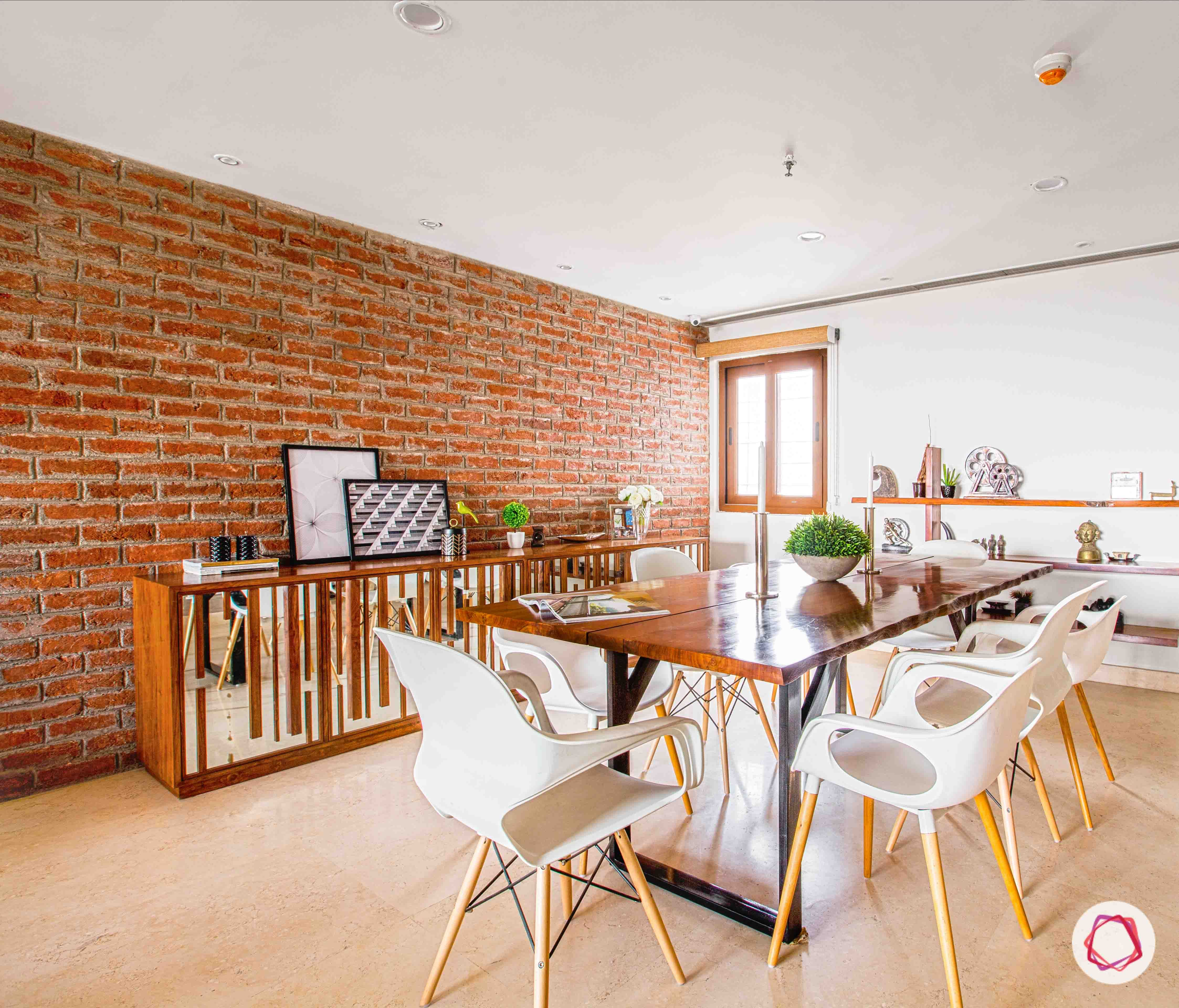 Industrial Style Dining Room  Exposed Brick Walls, Contemporary Chairs