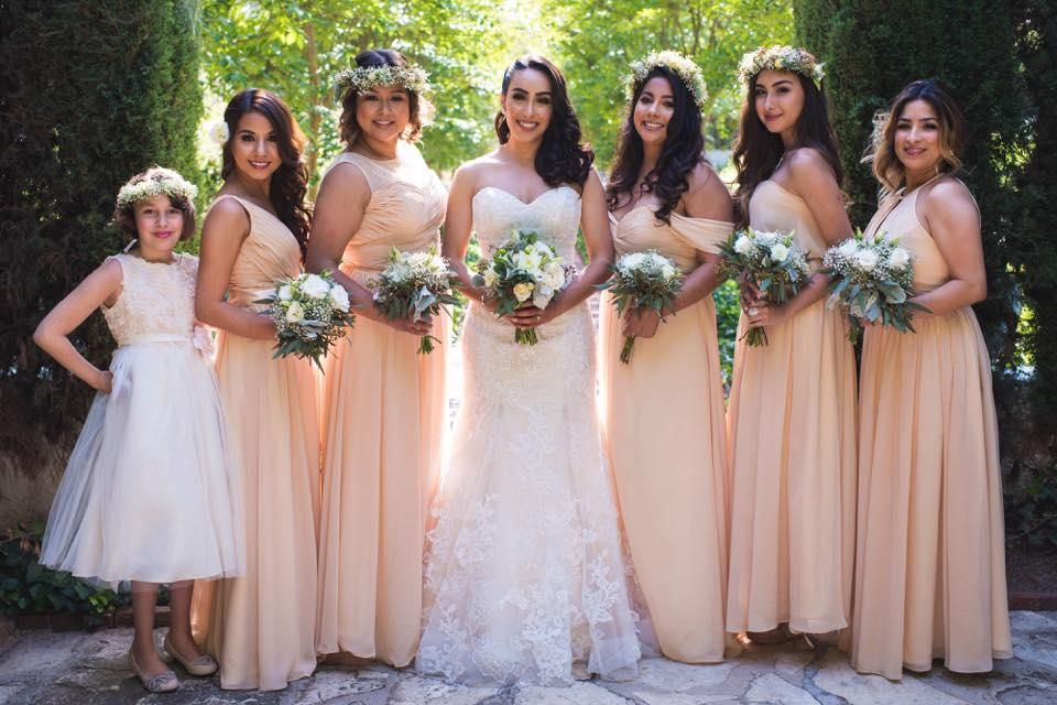 a27e95a7da9c52 These are long Azazie chiffon dresses with mismatched necklines (in peach).  I think they are still elegant and structured even though they're the flowy  ...