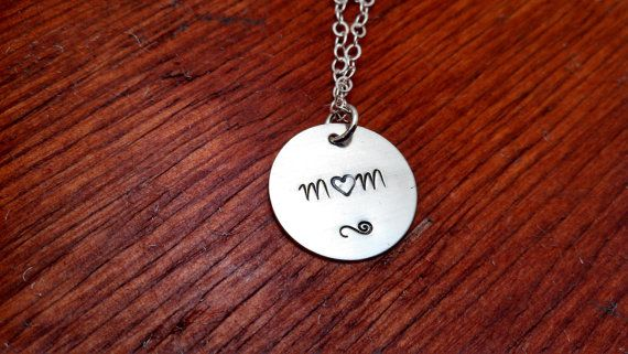 Hand stamped Mom necklace. by ByalittlebitofFaith on Etsy, $22.00