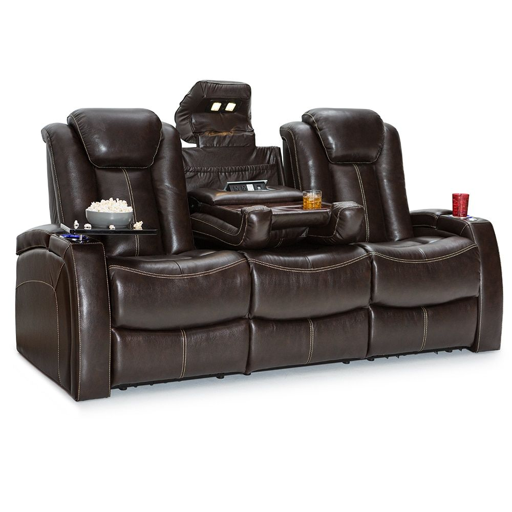 Seatcraft Republic Leather Home Theater Seating Power Recline Sofa