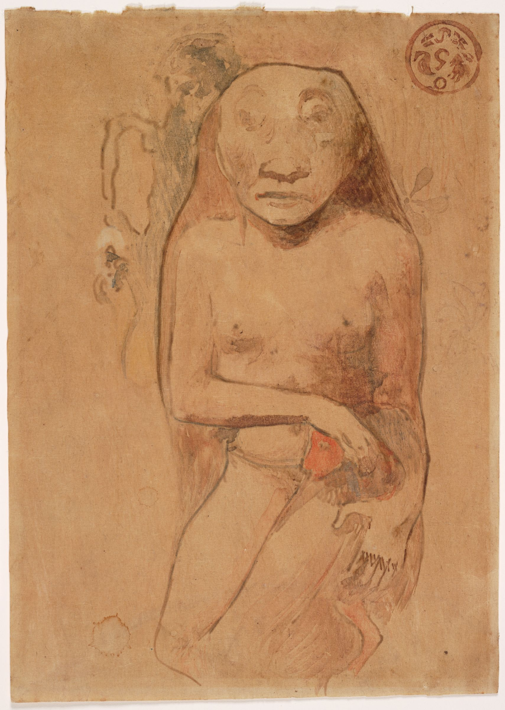 Paul gauguin french oviri watercolor trace monotype on tan asian paper x cm