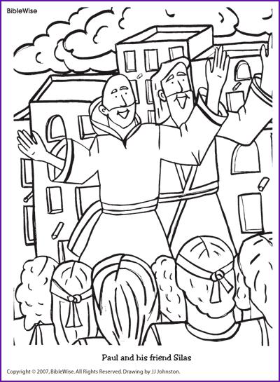 Coloring Paul and His Friend Silas  Kids Korner  BibleWise  Z