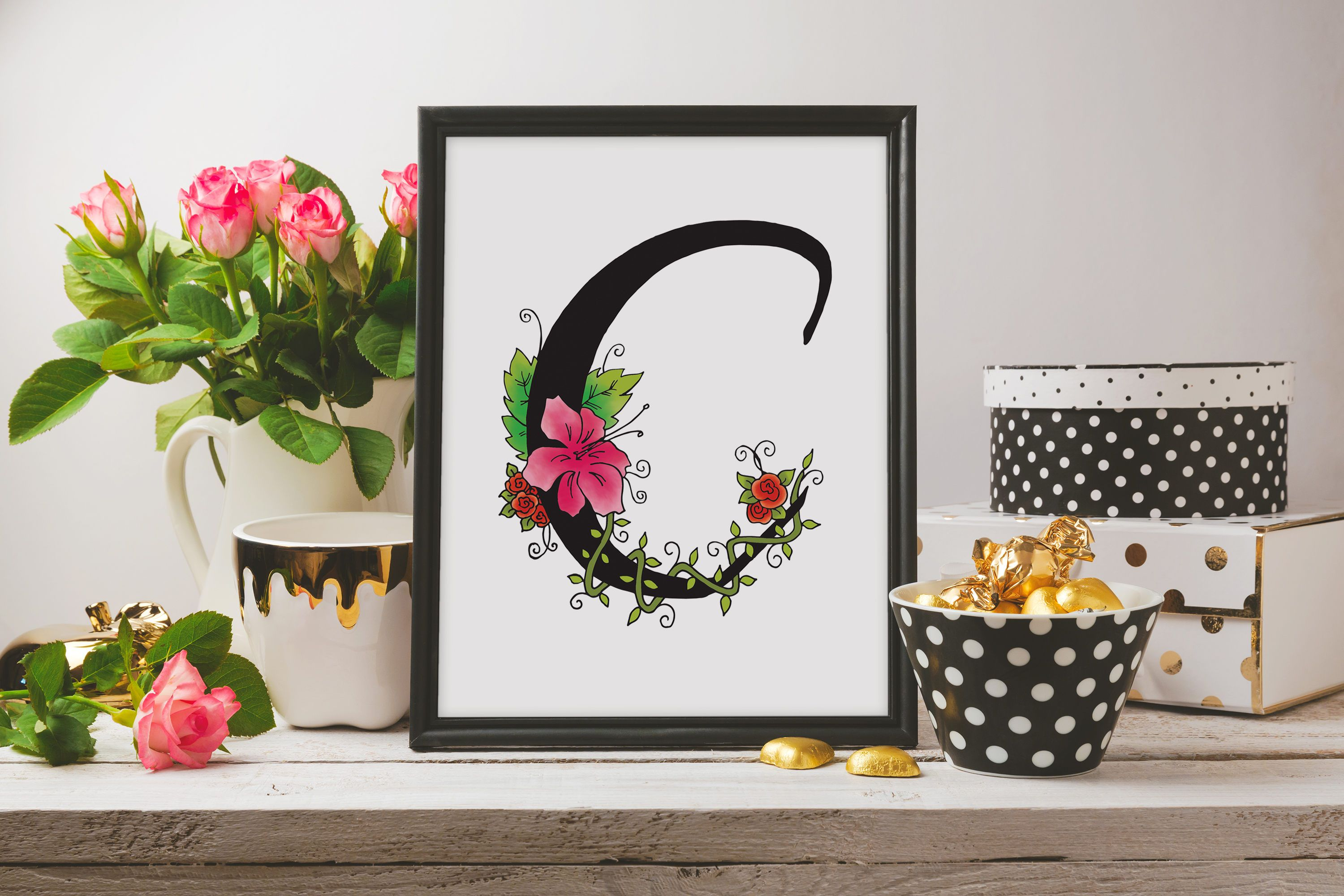 Letter C Wall Art Letter C Print Printable Nursery Wall Art Floral Monogram Wall