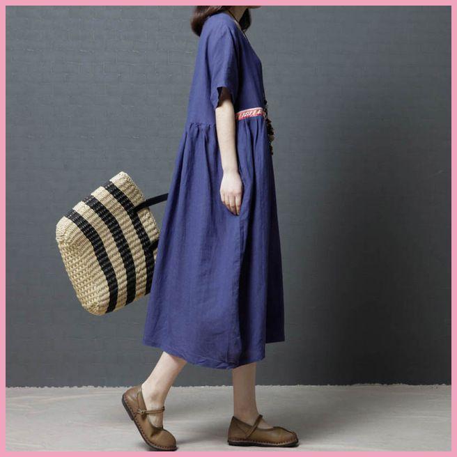 2d20e2b0eff ZYSK 2018 новые летние Корейский стиль Свободное платье большой Размеры  Женская одежда удобный хлопок и лен
