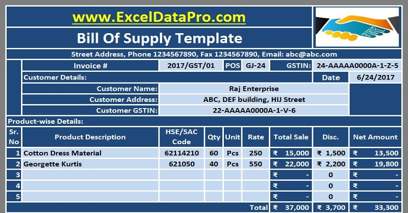 Download the GST Invoice Excel Template in compliance with the - bill sample microsoft