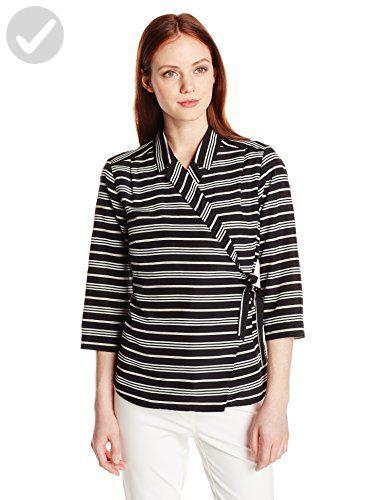 Pendleton Women's Petite Wrap Shirt, Black Stripe Print, Large/Petite - All about women (*Amazon Partner-Link)