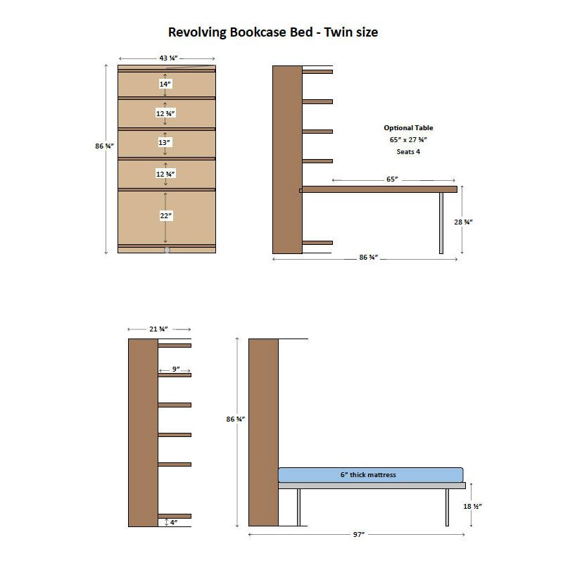 Revolving bookcase bed twin size diagram murphy beds pinterest revolving bookcase bed twin size diagram ccuart Gallery