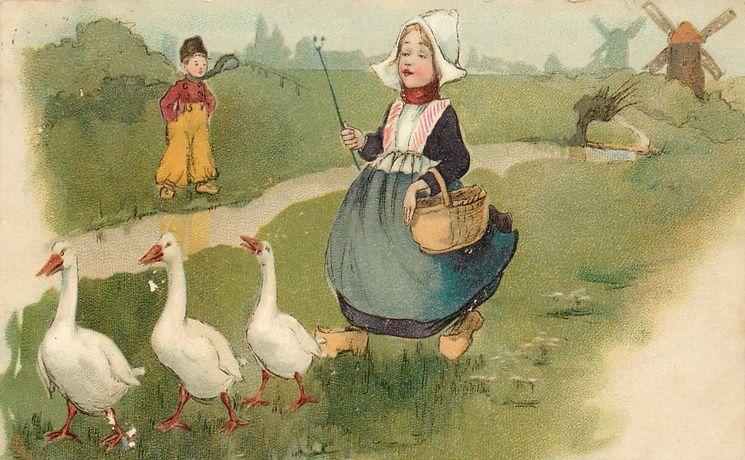 Dutch girl and three geese, Dutch boys, rural scene with windmill