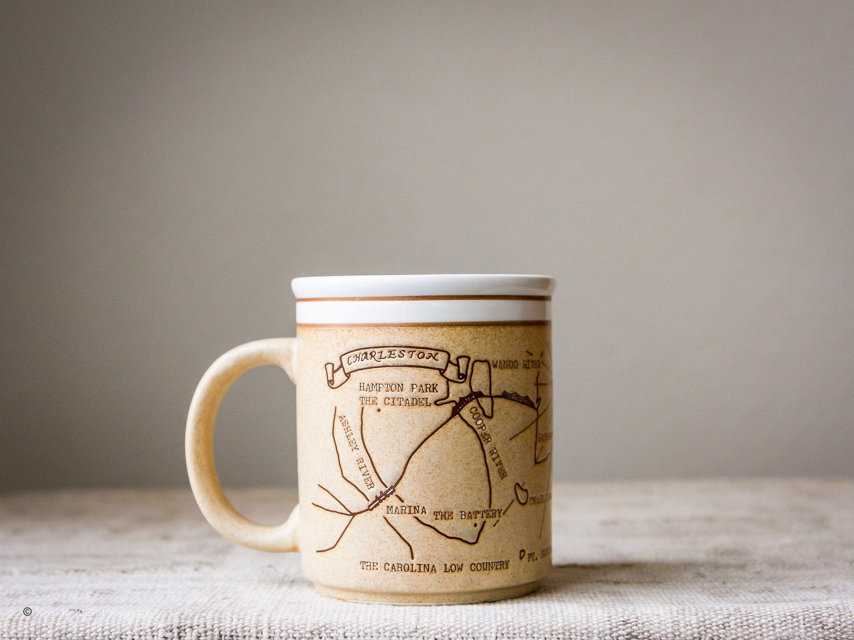 Vintage Stoneware Souvenir Coffee Mug Charleston South Etsy Stoneware Mugs Mugs Stoneware