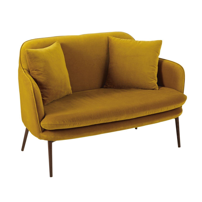 Sofa De 2 Plazas De Terciopelo Amarillo Mostaza Con Imagenes Sofa De Terciopelo Sofa De Terciopelo Verde Amarillo Mostaza