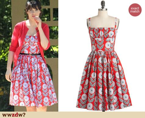 c199c0092e ... that Zooey wore on New Girl a couple of months ago is still available!  What a Dahlia Dress in straps at ModCloth. Zooey s green dress with blue  bow belt ...
