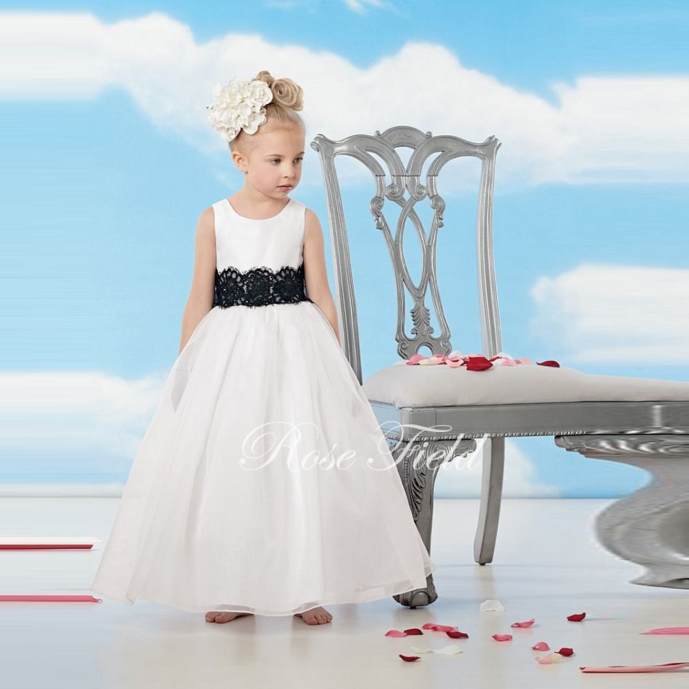 Sl 020685 Cheap Ankle Length Lovely Flower Girl Dress With Black