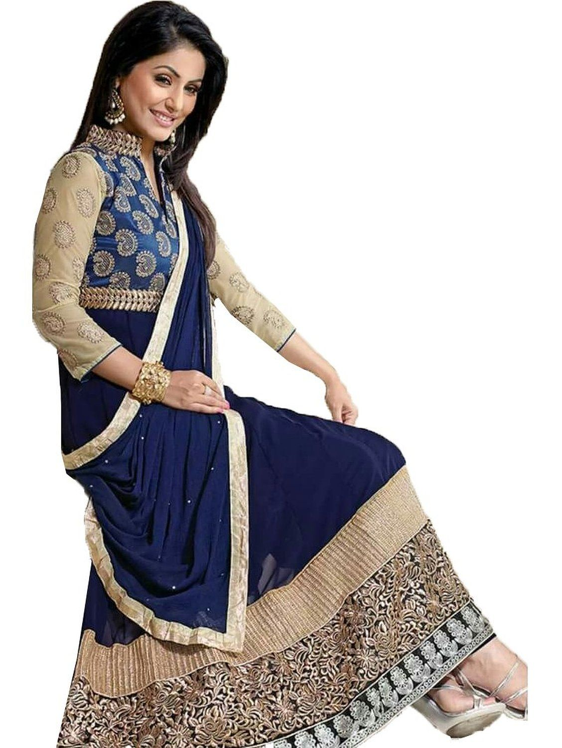 Chakudee By Blue Georgette Drees Material Amazon In Clothing