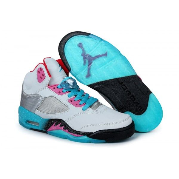 Air Jordan Women Shoes Women's Air Jordan 5 Miami Vice [Women's Air Jordan 5  - A mash up of blue and pink along the outsole with added accents  throughout ...