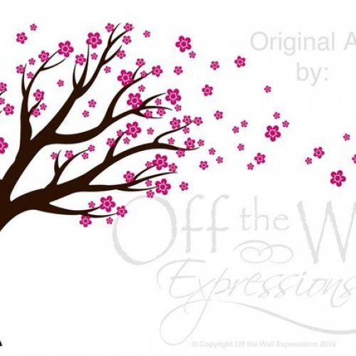 Large Blowing Cherry Blossom Tree Wall Mural Like How They Are - Custom vinyl wall decals falling off