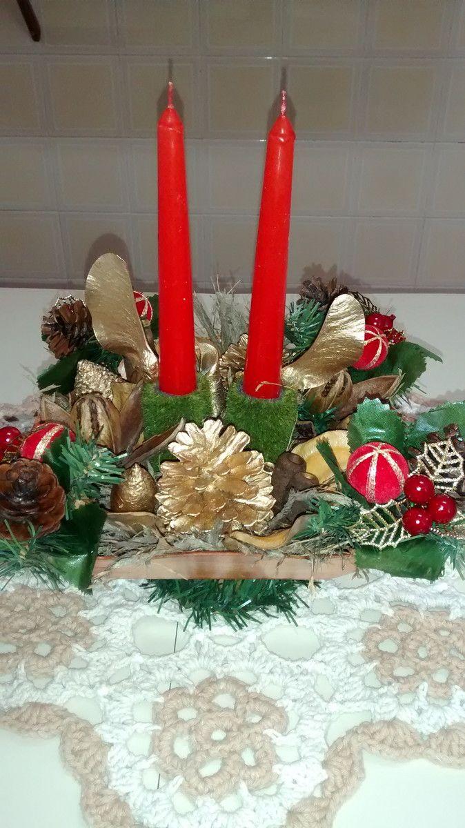 Arranjo Natalino Para Mesa De Natal Com Velas Bandeja De Bambu
