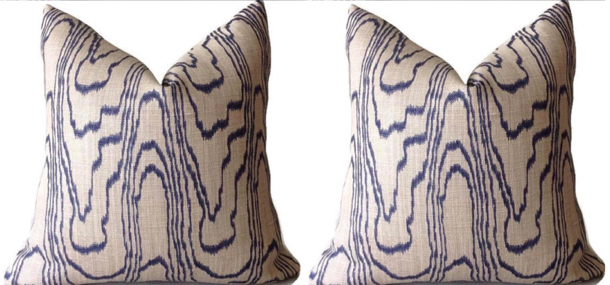 Contemporary Slate Blue Swirl Linen Pillow Covers A Pair On Chairish Com Linen Pillow Covers Pillows Linen Pillows