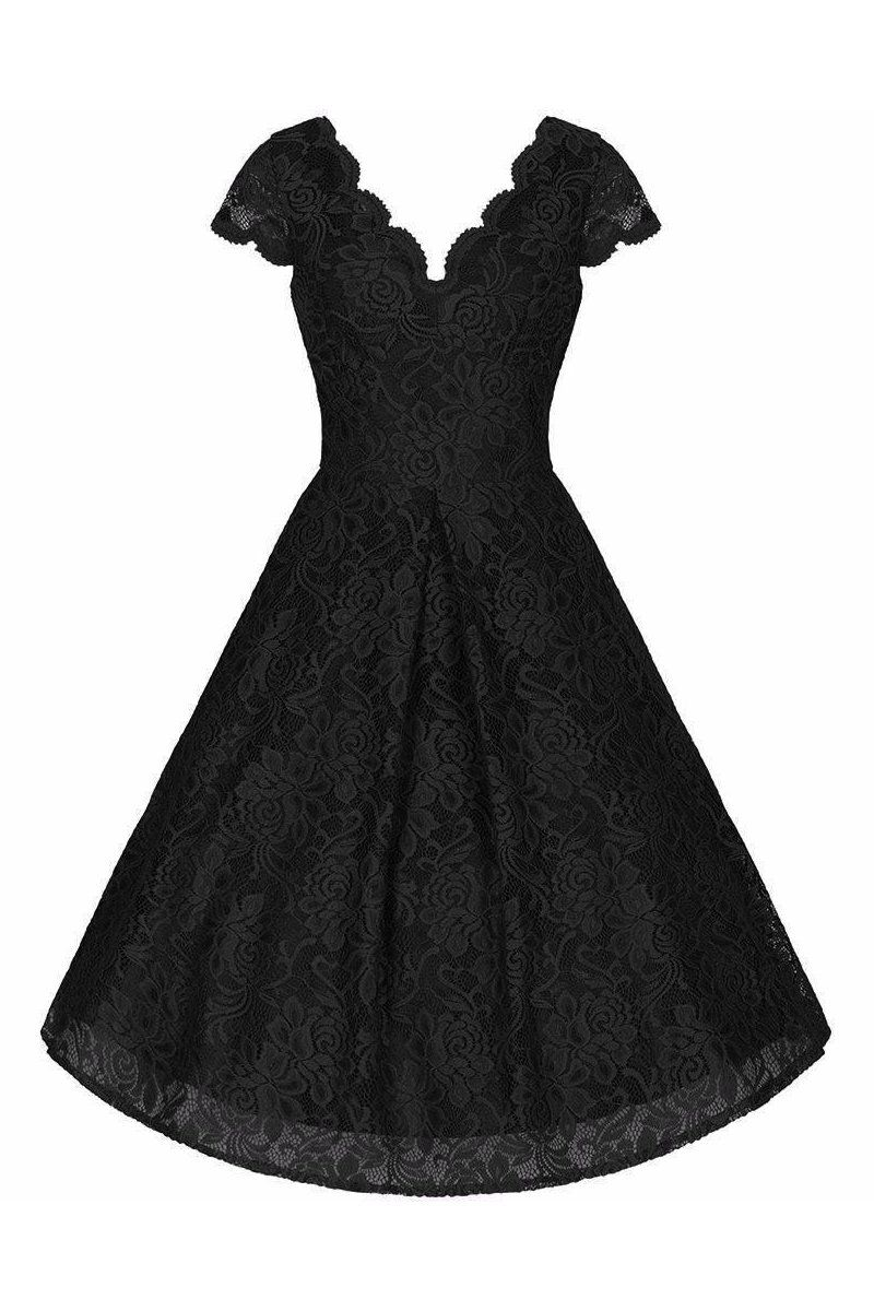 6eb59ac7f552 Black Embroidered Lace Scalloped V Neck Capped Sleeve 50s Swing Dress