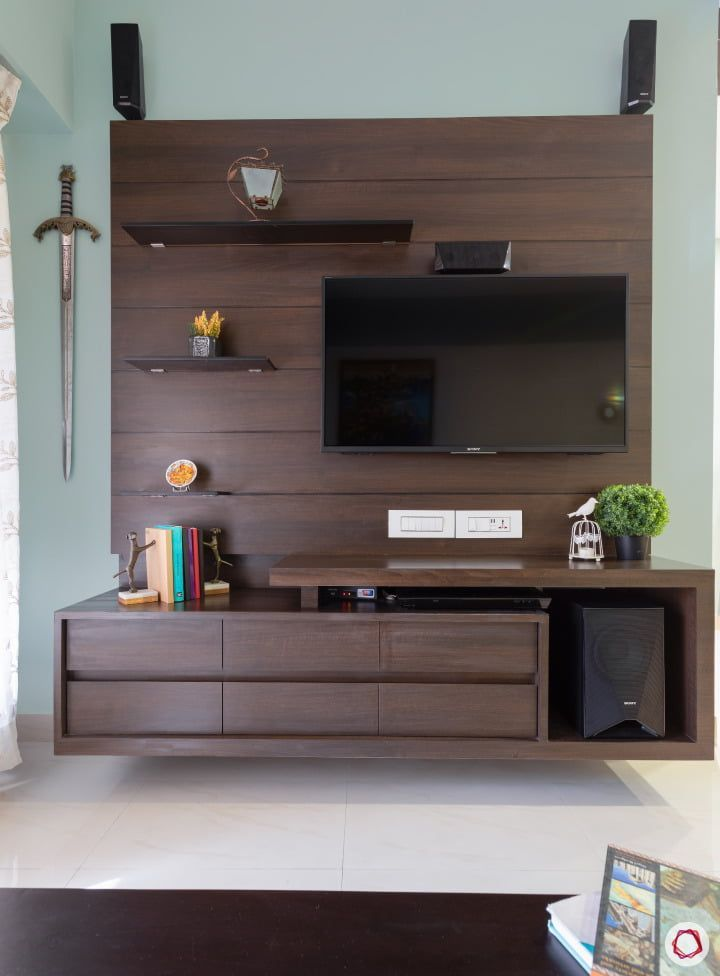 Lcd Panel Tv Unit Design For Living Drawing Room Bedroom: Wood And Metal Asymmetrical TV Stand One Drawer