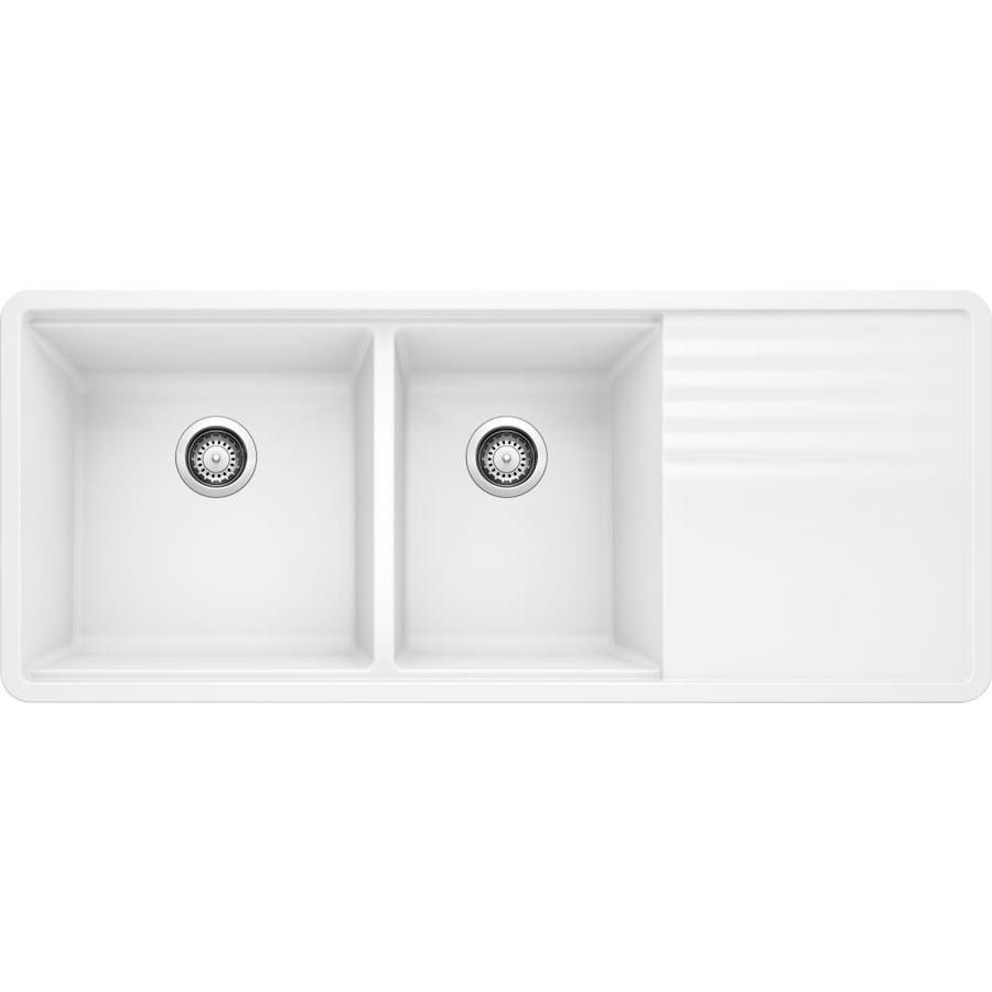 Blanco Precis Undermount 48 In X 20 In White Double Offset Bowl Kitchen Sink With Drainboard Lowes Com Undermount Kitchen Sinks Drainboard Sink Kitchen Sink