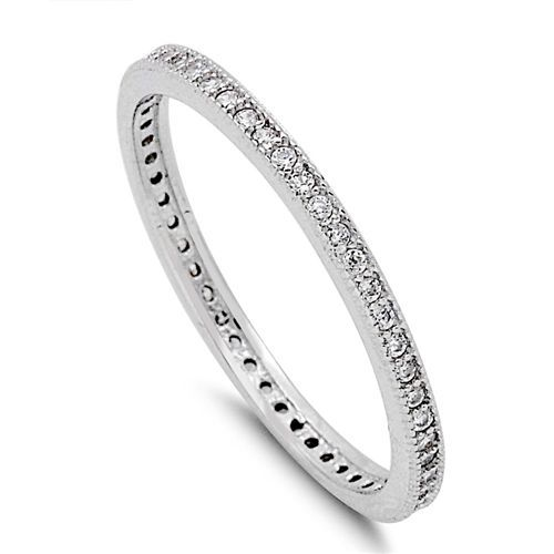 Women's Sterling Silver Cubic Zirconia Stackable Eternity Wedding Band Ring  | eBay