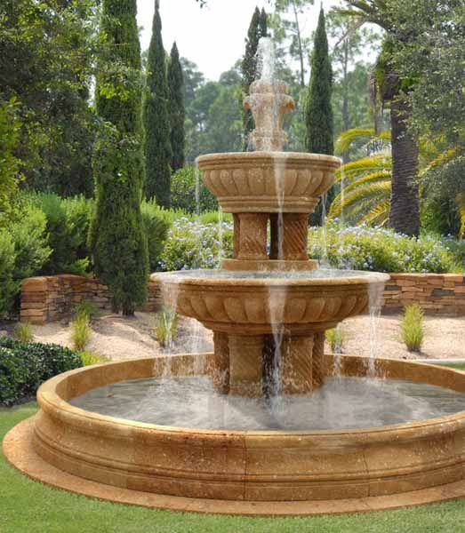Water fountains front yard and backyard designs outdoor for Water landscape design