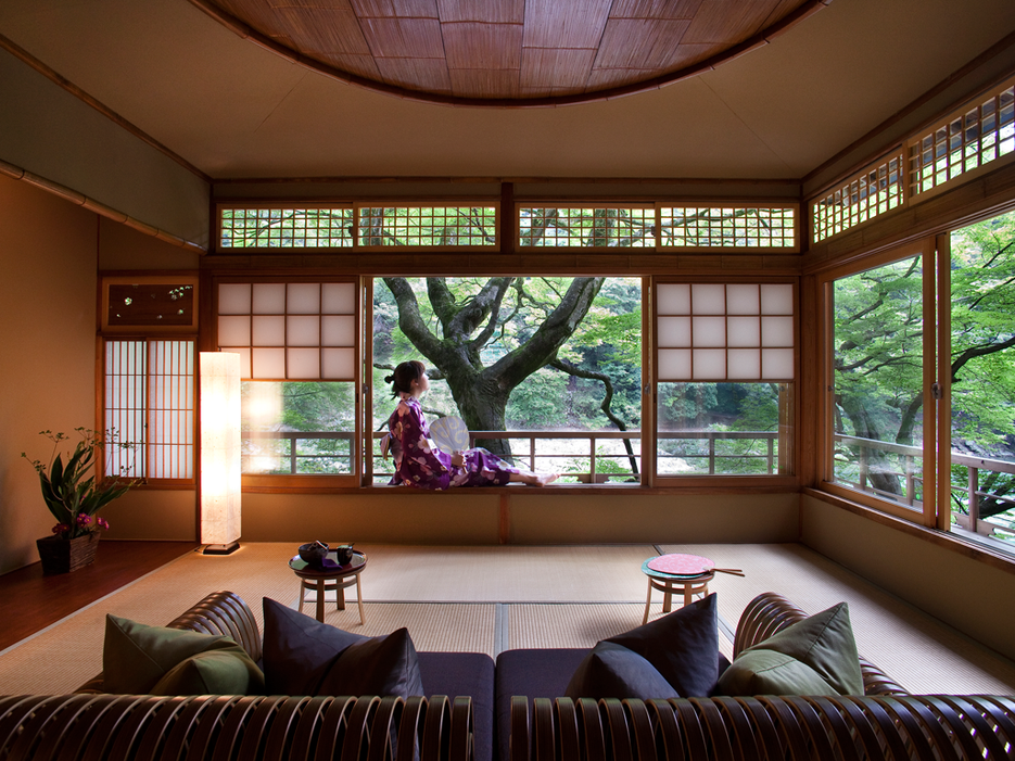 Room With A View Hoshinoya Kyoto Tsuki Twin Suite Kyoto Traditional Japanese House And Temple