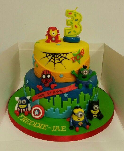 Minion Avengers Birthday Cake minions avengers Pinterest