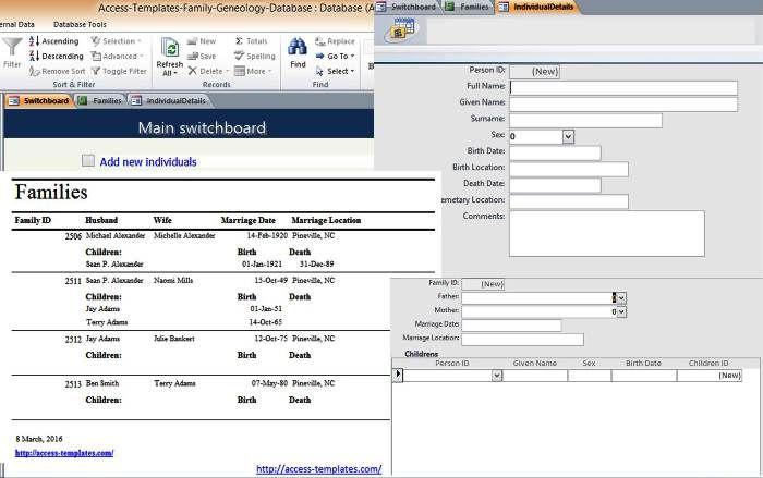 genealogy database template