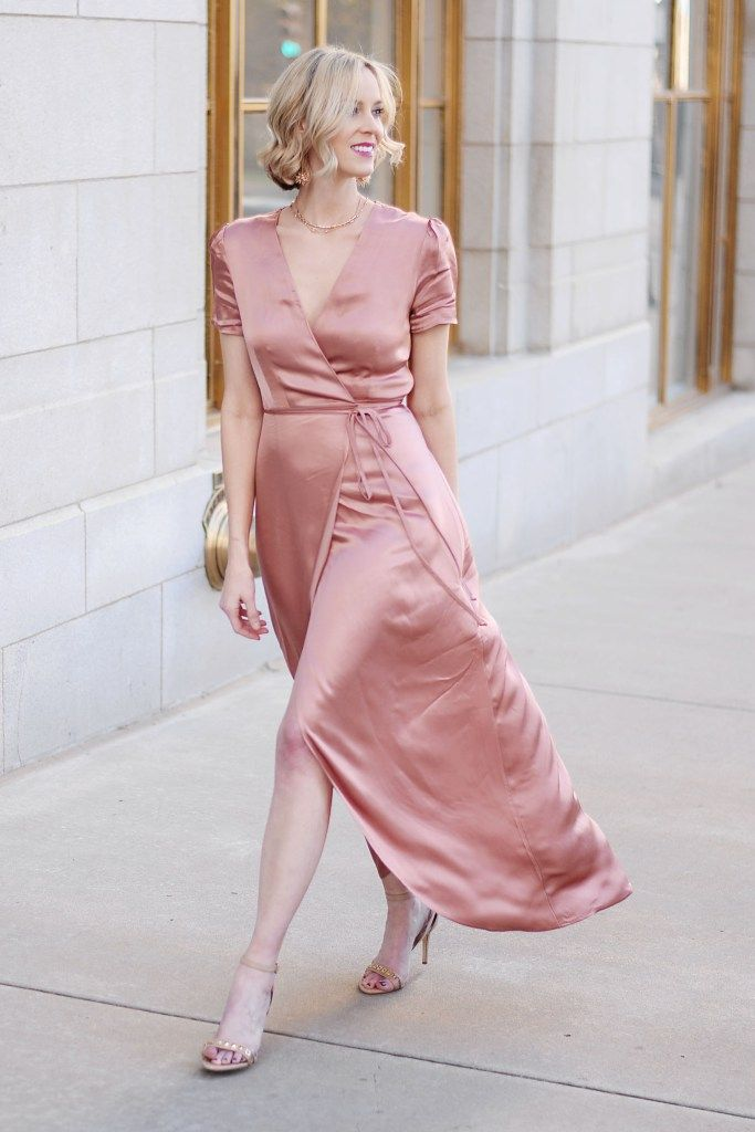 Dressy Holiday Party Outfit  Satin Wrap Dress + Cyber Monday Sales - Satin wrap dress, Wrap dress, Party dresses for women, Ladies dress design, Dresses, Chic outfits - How gorgeous is this satin wrap dress in the pretty dusty pink color ! The perfect dressy holiday party outfit all in one piece for under $100