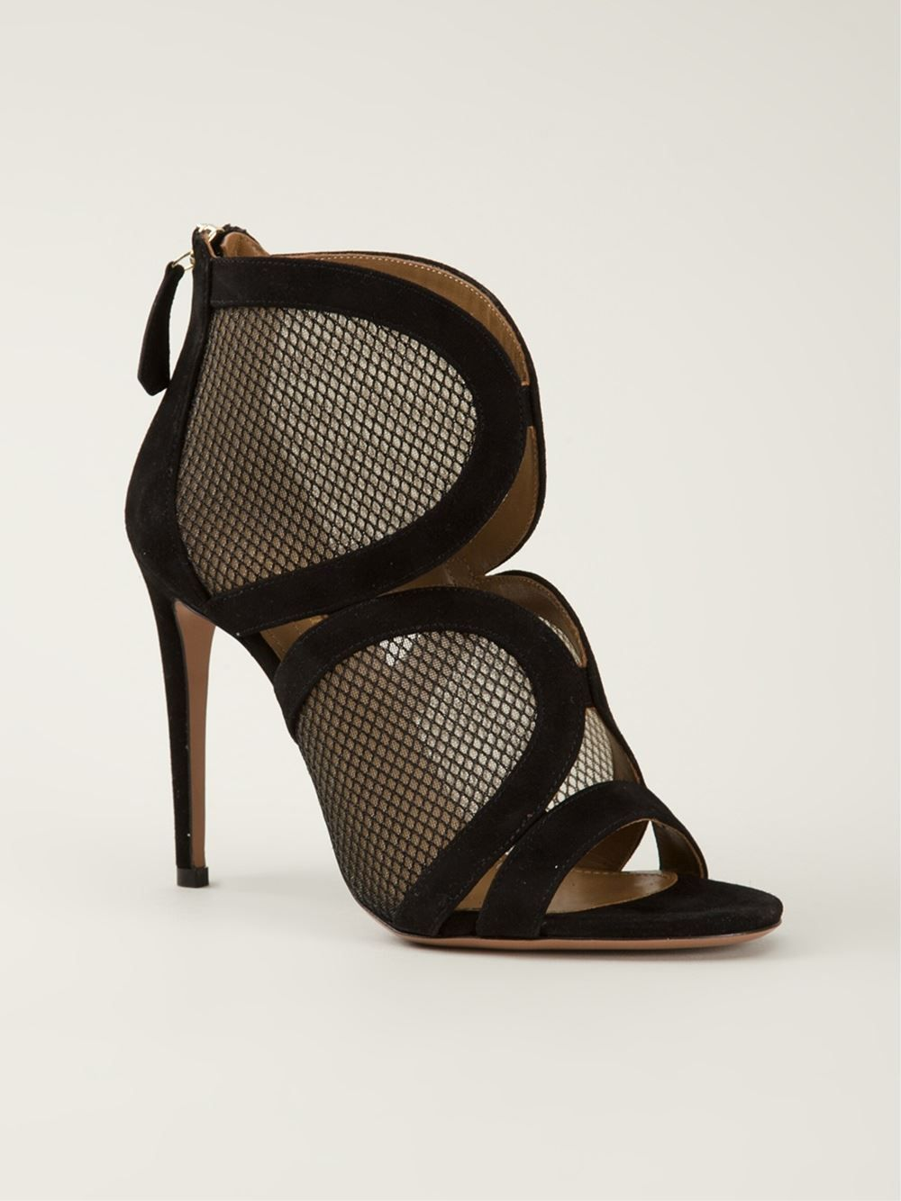 Aquazzura 'memphis' Mesh Contrast Sandals - -renaissance- - Farfetch.com.  Black SandalsBlack HeelsShoes ...
