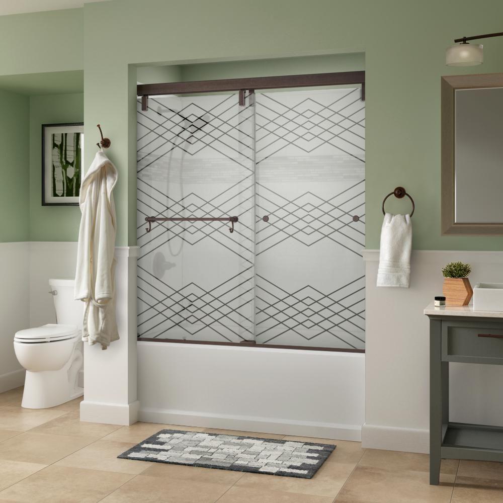 Delta Portman 60 X 59 1 4 In Frameless Mod Soft Close Sliding Bathtub Door In Bronze With 1 4 In 6mm Argyle Glass Sd3442636 Bathtub Doors Shower Doors Bathtub Shower Doors