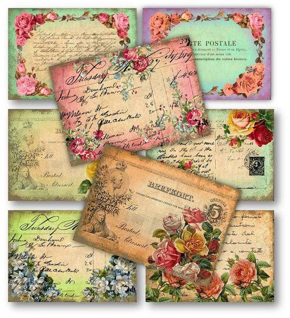 Vintage Roses Postcards - Digital Collage Sheet Download - Set 158