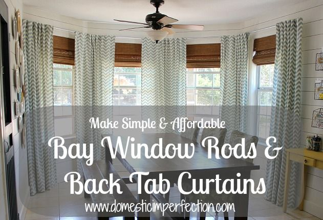 Diy Bay Window Curtain Rod Back Tab Curtains Diy Home Decor