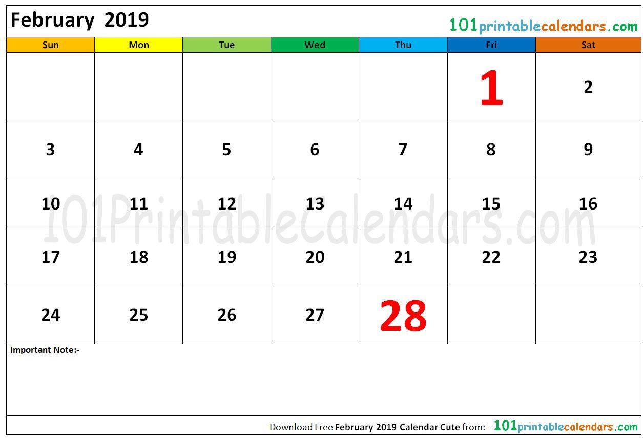 February 2019 Calendar Cute 2019 calendar, Calendar