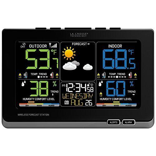 La Crosse Technology C87214 Multicolor Wireless Forecast Station Black Weather Station Weather Instruments Weather Center