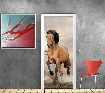 Stickersnews stickers pour porte trompe l oeil déco cheval réf 783 dimensions 73x204cm amazon fr cuisine maison