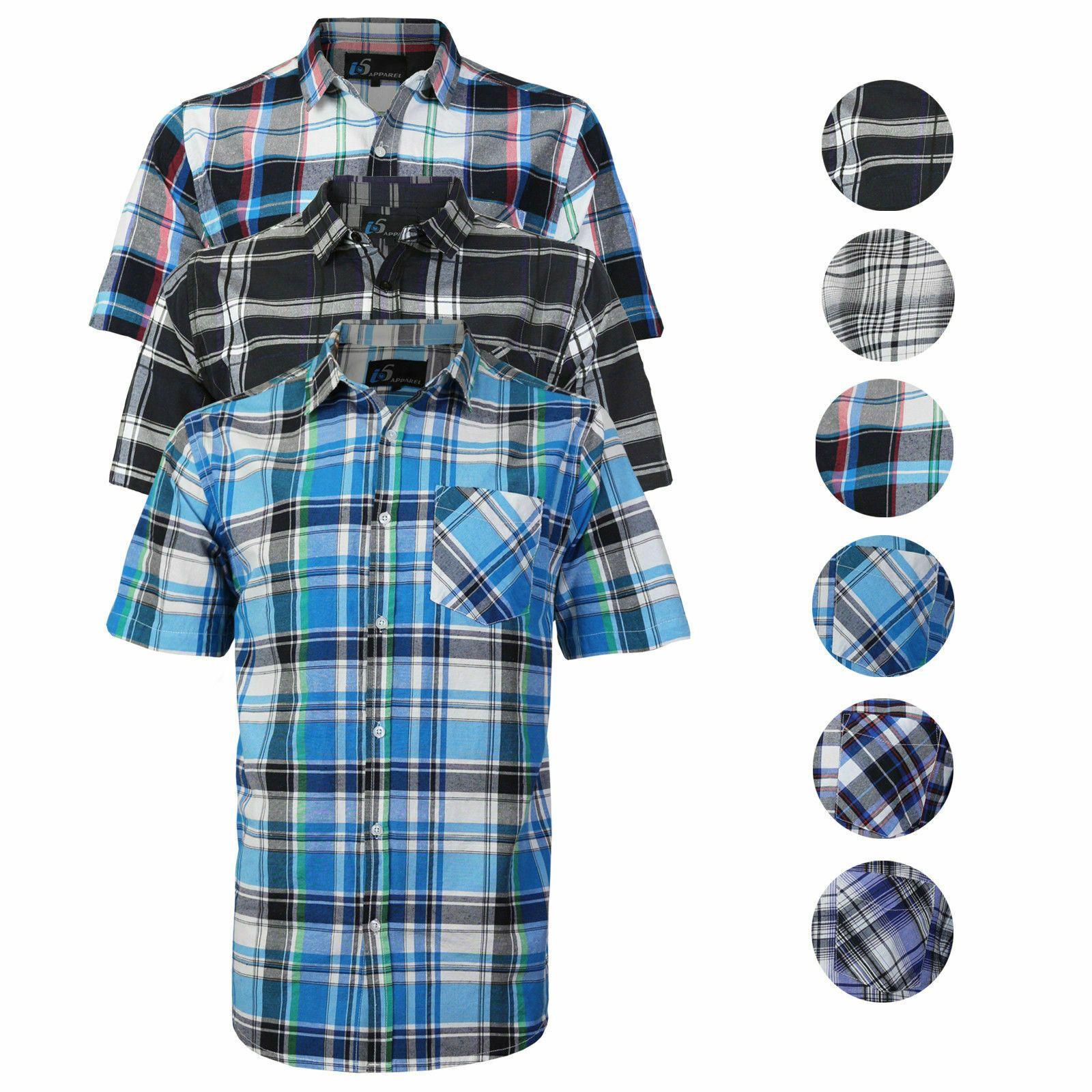 Mens plaid checkered button down casual short sleeve